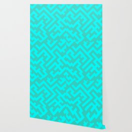 Cyan and Turquoise Diagonal Labyrinth Wallpaper