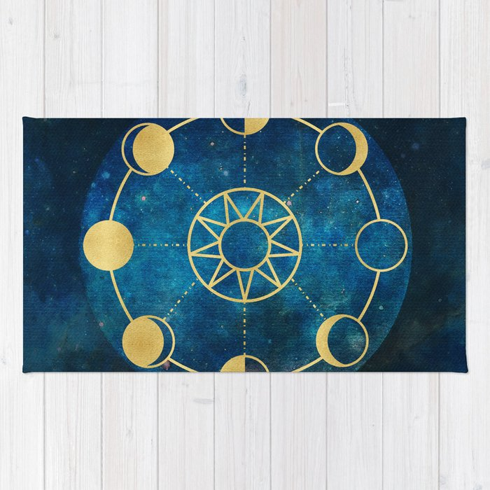 Gold Moon Phases Sun Stars Night Sky Navy Blue Rug by naturemagick