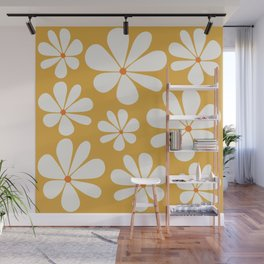 Floral Daisy Pattern - Golden Yellow Wall Mural
