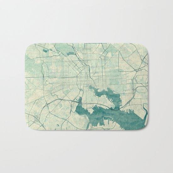 Baltimore Map Blue Vintage Bath Mat