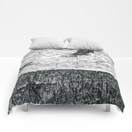 Birch, black & white Comforters