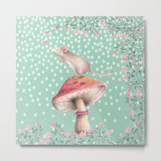Beautiful Mouse on a mushroom with pink flowers on dots backround Metal Print