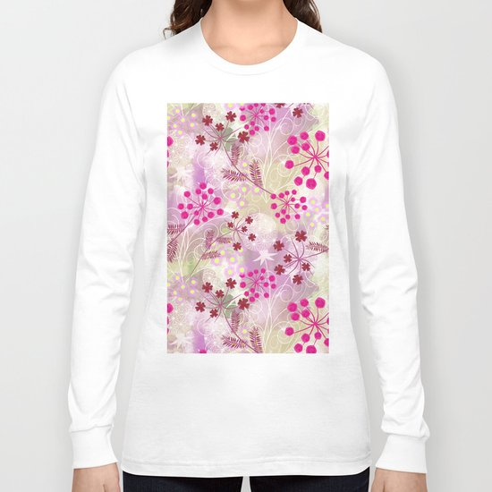 bright floral pattern ,watercolor background. Long Sleeve T-shirt
