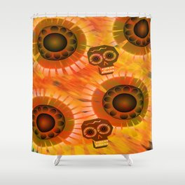 Folkloric Skulls and Flowers Shower Curtain