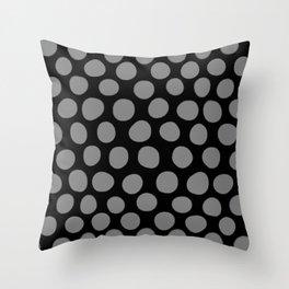 Gray Polka Dots on Black Pattern Throw Pillow