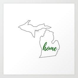 Michigan - Home - White Green Art Print