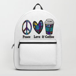Purple Green Peace Love and Coffee Backpack