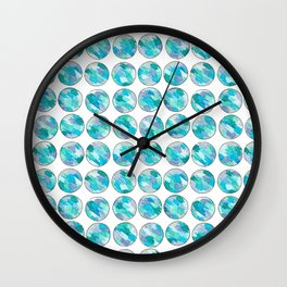 'An Ocean Dream' Abstract Illustration in blue, turquoise, aqua and silver Wall Clock