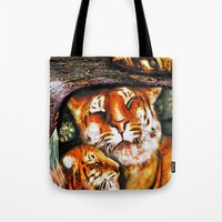 persian Tote Bags featuring PERSIAN TIGER by ShekariArt