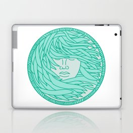 Polynesian Woman Sea Kelp Hair Circle Mono Line Laptop & iPad Skin