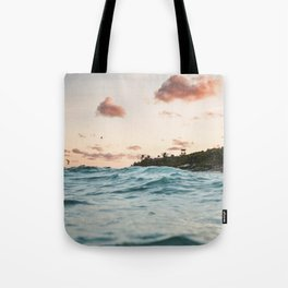 Waves at the sunset Tote Bag