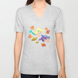 little mermaids playing tag Unisex V-Neck