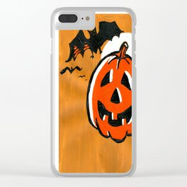 Vintage Jack o' Lantern and Bats Clear iPhone Case