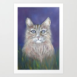 CUTE YOUNG TABBY CAT GREY BEIGE CHALK PASTEL DRAWING Art Print