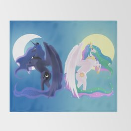 Sun and Moon Sisters Throw Blanket