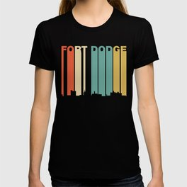 Retro 1970's Style Fort Dodge Iowa Skyline T-shirt
