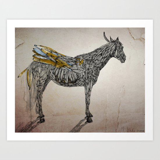 Feather Horse  Art Print
