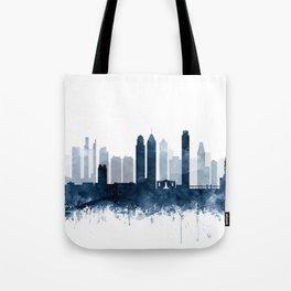 Philadelphia City Skyline Blue Watercolor by zouzounioart Tote Bag