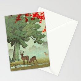 Vintage Japanese Woodblock Print Nara Park Deers Green Trees Red Japanese Maple Tree Stationery Cards