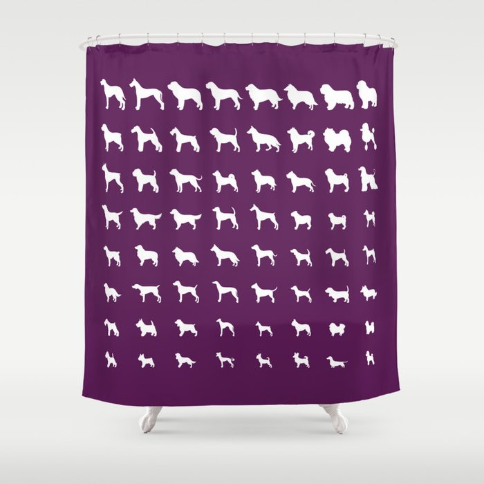 All Dogs Plum Shower Curtain
