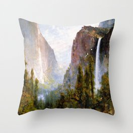 Bridal Veil Fall Yosemite Valley 1892 By Thomas Hill | Reproduction Throw Pillow