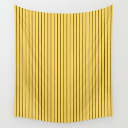 Primrose Yellow and Black Stripes Wall Tapestry