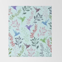 Watercolor Floral & Birds III Throw Blanket