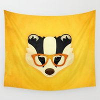 badger Wall Tapestries featuring Hipster Badger: Gold by Jenny Lloyd Illustration
