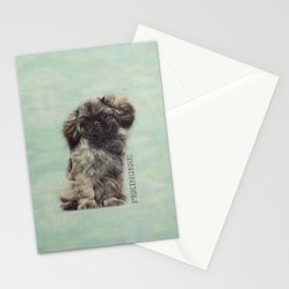 Sketch  of fluffy  Pekingese puppy Stationery Cards