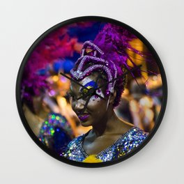 Costumed Attractive Dancer Woman at Carnival Parade of Uruguay Wall Clock