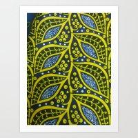 Ankara Blue Yellow Art Print