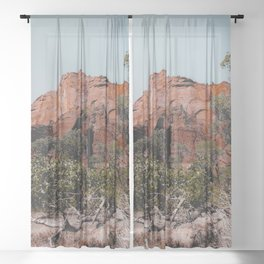 mountain with green tree in the forest at Zion national park, Utah, USA Sheer Curtain