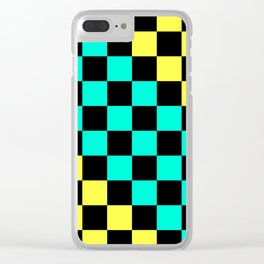 Black, Aqua, & Yellow Checkerboard Pattern Clear iPhone Case
