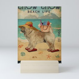 Beach Life Sandy Toes Chow Chow dog quotes gift Mini Art Print