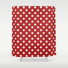 Small Polka Dots - White on Firebrick Red Shower Curtain