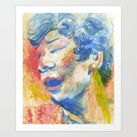 fitzgerald Art Prints featuring Ella Fitzgerald by thirdfloorclub