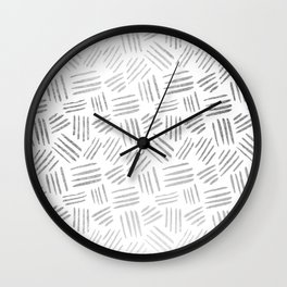 Elegant geometrical faux silver stripes pattern Wall Clock