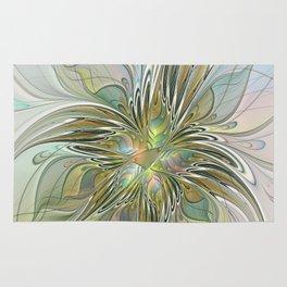 Floral Fantasy, Abstract Fractal Art Rug