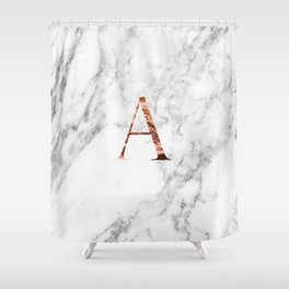 Monogram rose gold marble A Shower Curtain