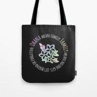 ohana Tote Bags featuring Ohana by The Crafty Geekette