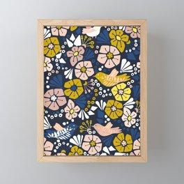 Blue wellness garden - florals matching to design for a happy life Framed Mini Art Print