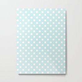 Small Polka Dots - White on Light Cyan Metal Print