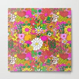 60's Groovy Garden in Neon Peach Coral Metal Print