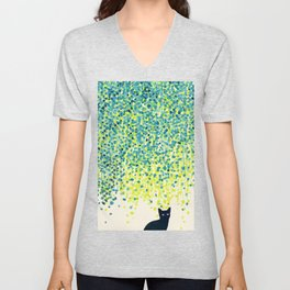 Cat in the garden under willow tree Unisex V-Neck