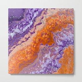 Clemson Orange and Purple Paint Pour Effect Metal Print