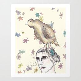 Spring Bird and Wildflowers Art Print