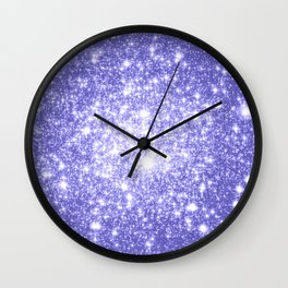 Lavender Periwinkle Sparkle Stars Wall Clock
