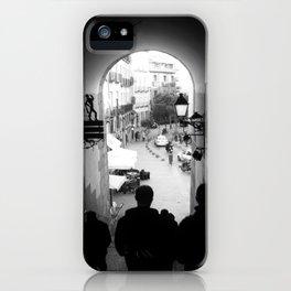 Salida Secreta de la Plaza Mayor - B&W street photography iPhone Case
