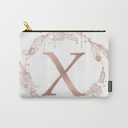 Letter X Rose Gold Pink Initial Monogram Carry-All Pouch