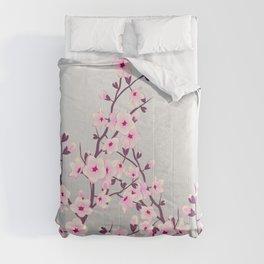 Cherry Blossom Pink Gray Comforters
